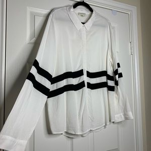 Forever 21 White Button Down Shirt w/ Black Stripe